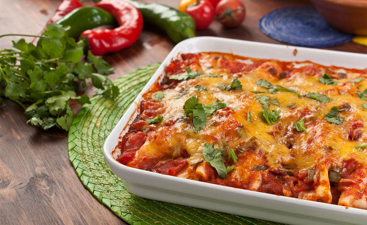 Bean and Veggie Enchiladas
