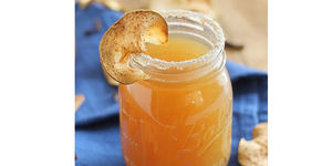 Simple Spiked Cider with Oven Baked Apple Crisps