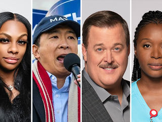 "Jessica ""Jess Hilarious"" Moore, presidential candidate Andrew Yang, Billy Gardell, Folake Olowofoyeku"