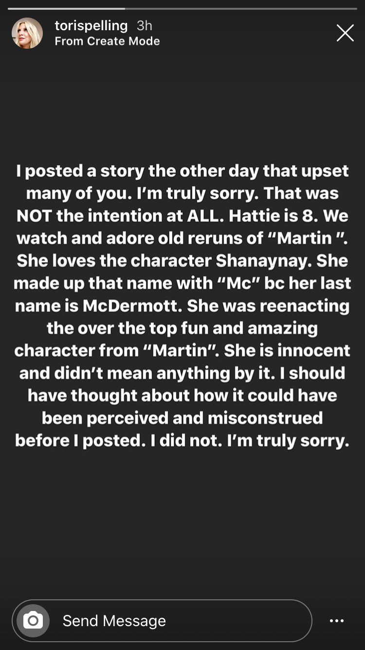 Tori Spelling's apology