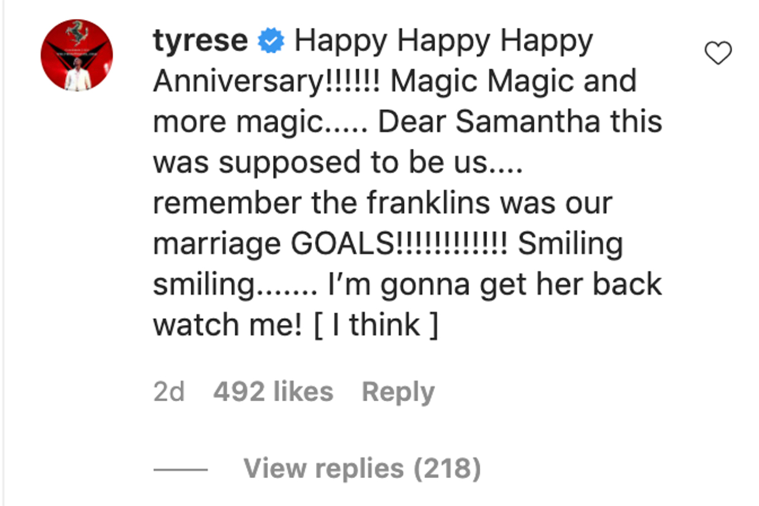 Tyrese's comment
