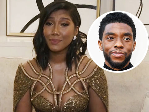 Chadwick Boseman's Widow Tearfully Accepts Golden Globe on His Behalf